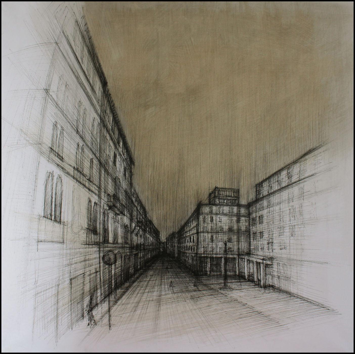 Corso Italia, Trieste, 2009; china su carta, 70x70 cm.