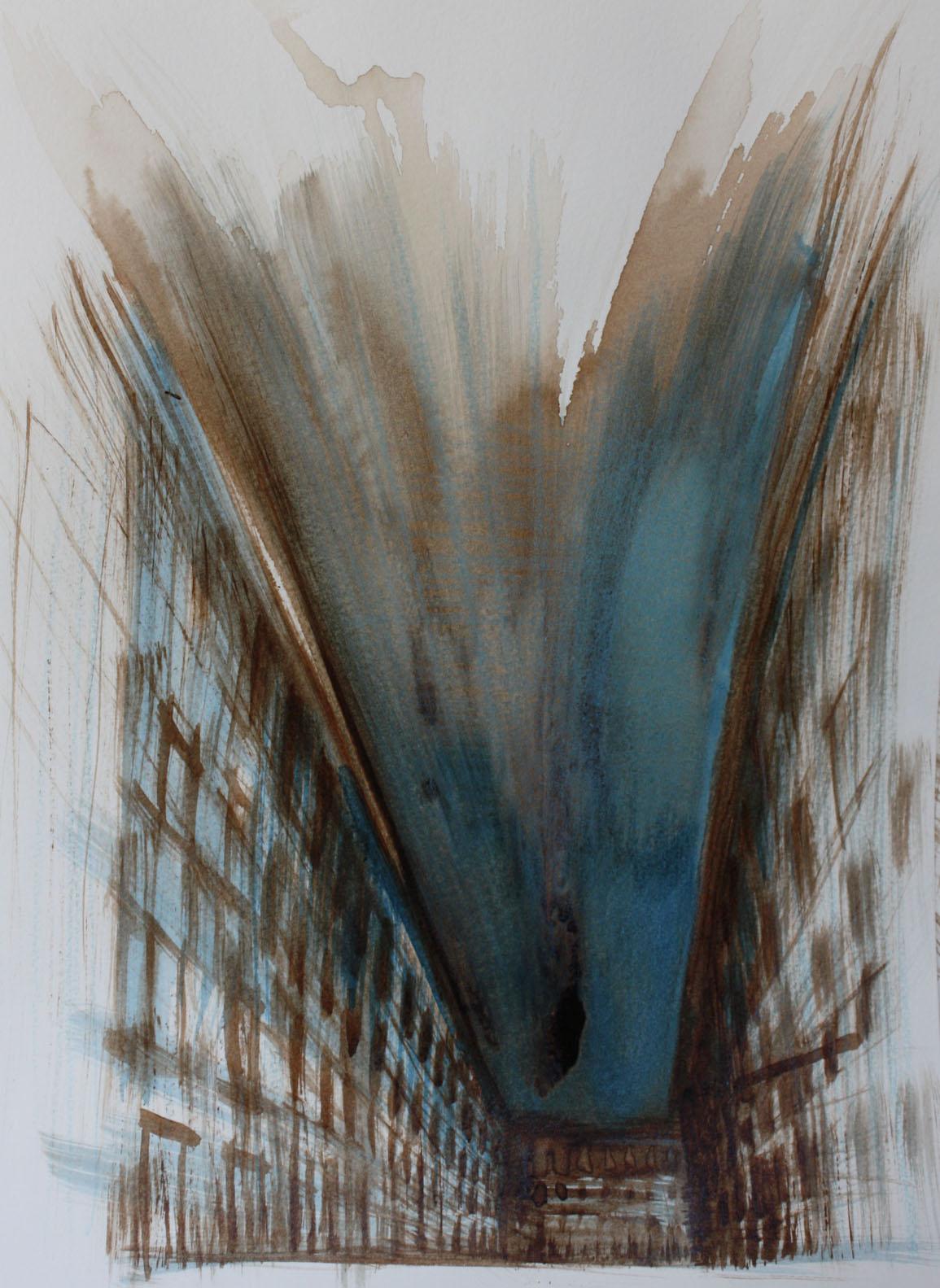 Strada blu, Trieste, 2010; bitume e china su carta, 23x30,5 cm.