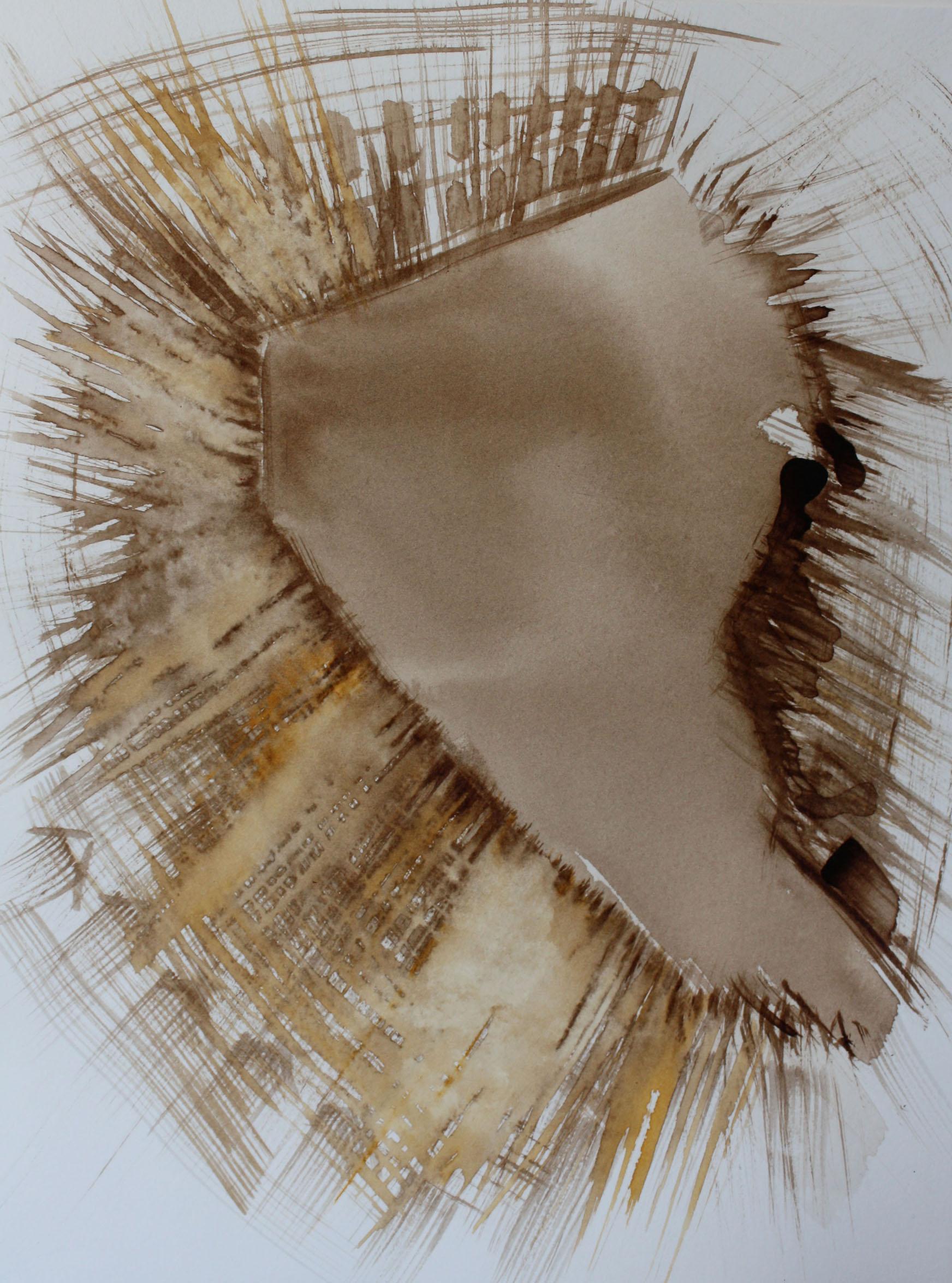 S.T,Trieste, 2010; bitume e china su carta, 23x30,5 cm.