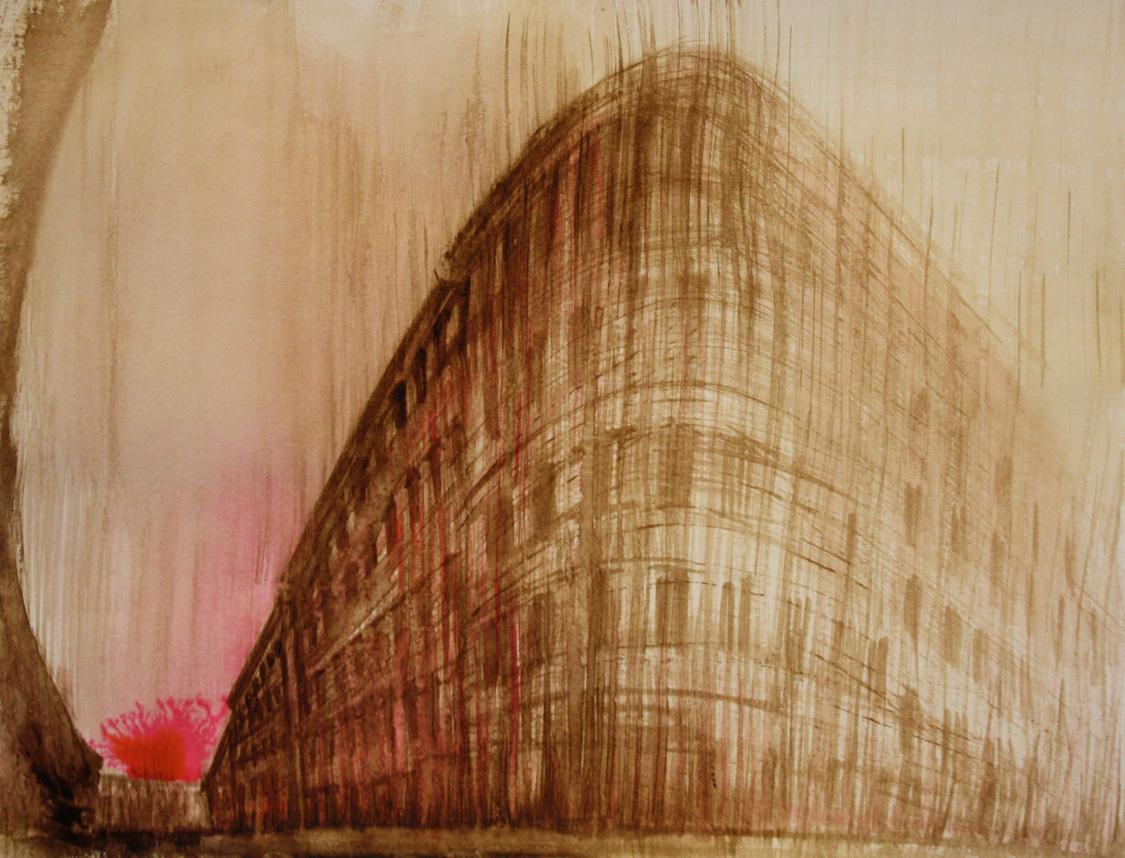 Laggiù, Trieste, 2010; bitume e china su carta, 23x30,5 cm.