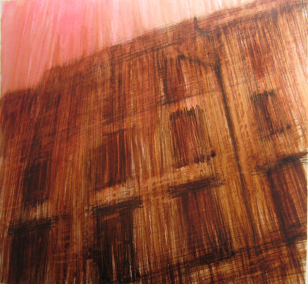 Rosso, 2011, china e bitume su carta; 22,5x21cm.