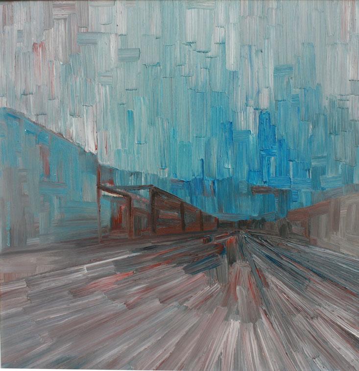 Via Cumano, Trieste, 2010; olio su tela, 70x70 cm.