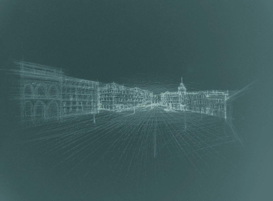 Piazza Unità, Trieste, 2008; china su carta, 24x33 cm.