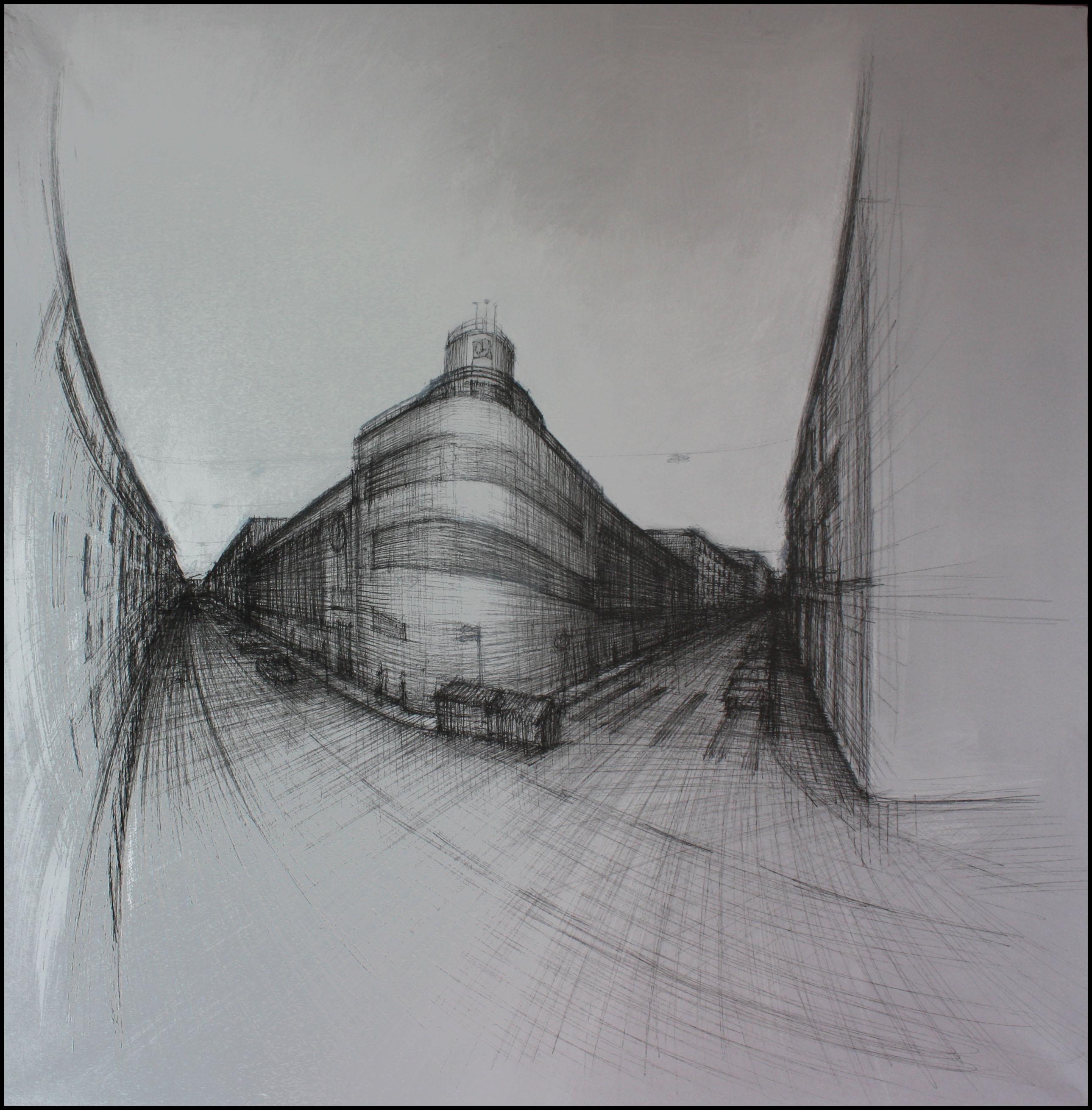 Via Carducci e Mercato Copert0, Trieste, 2009; china su carta, 70x70 cm.