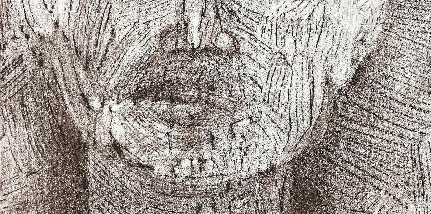 28. Come il tempo sottile e inesorabile, 2011, particolare; frottage di dipinto su carta, 27x20 cm.