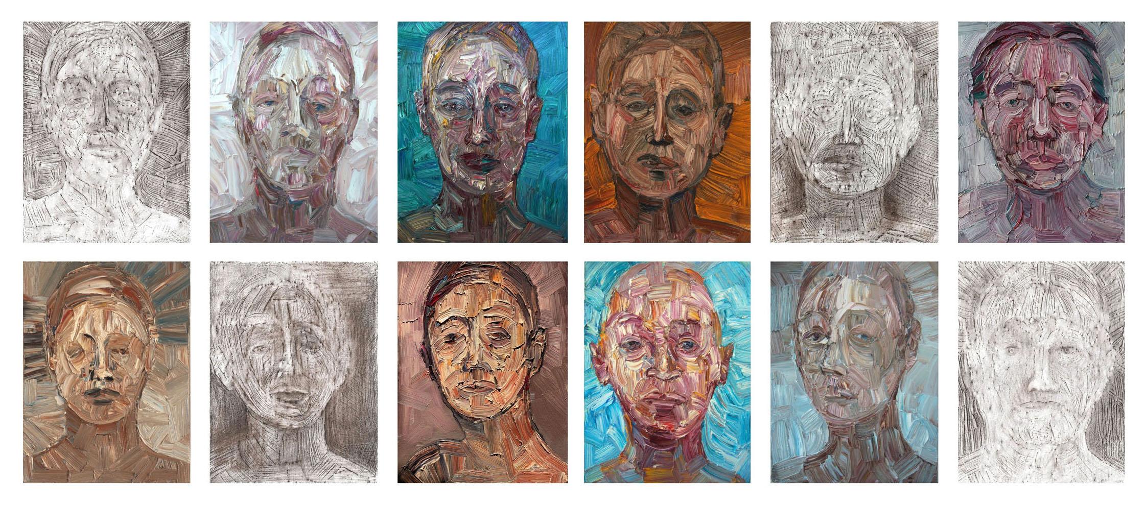 Ex-sisto, 2008-2011; olio su tela e frottage su carta, 20x27cm ciascuno