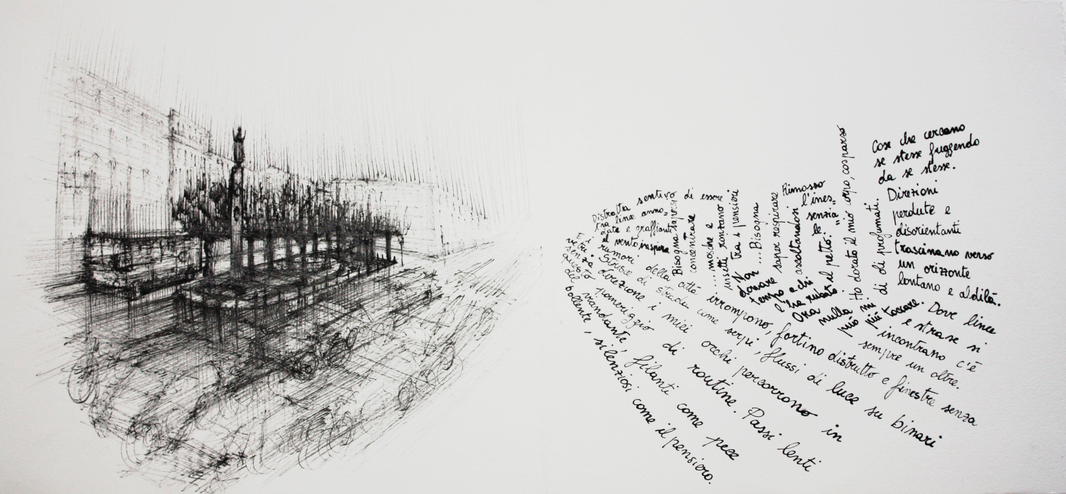 Ora nulla mi può più toccare, 2012; china su carta, 21x45 cm