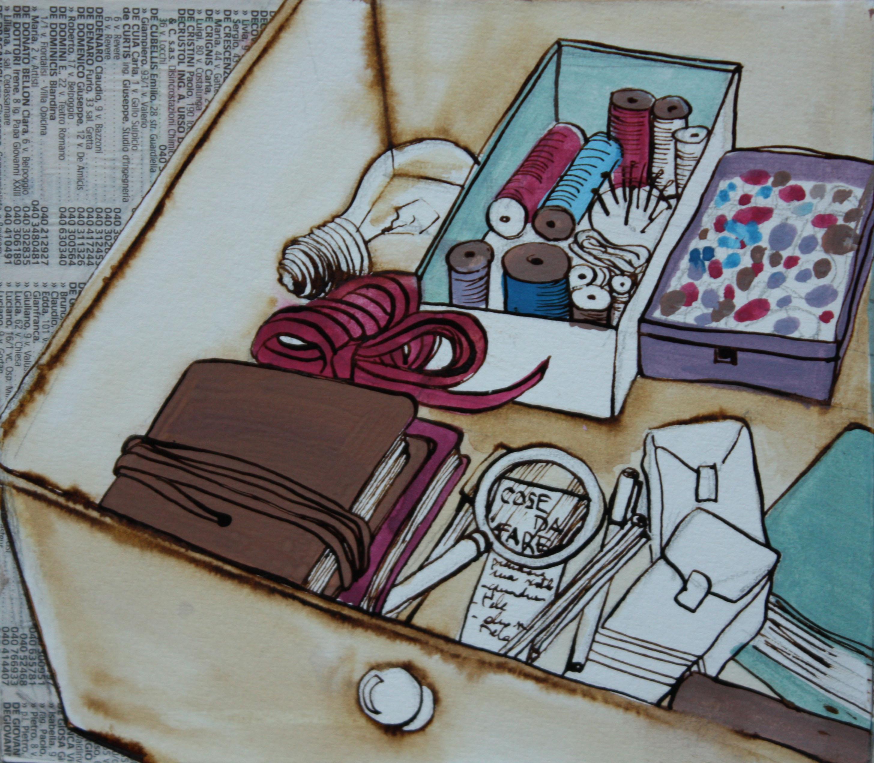 Dentro il cassetto, Libro-cubo 2014, particolare; tecnica mista