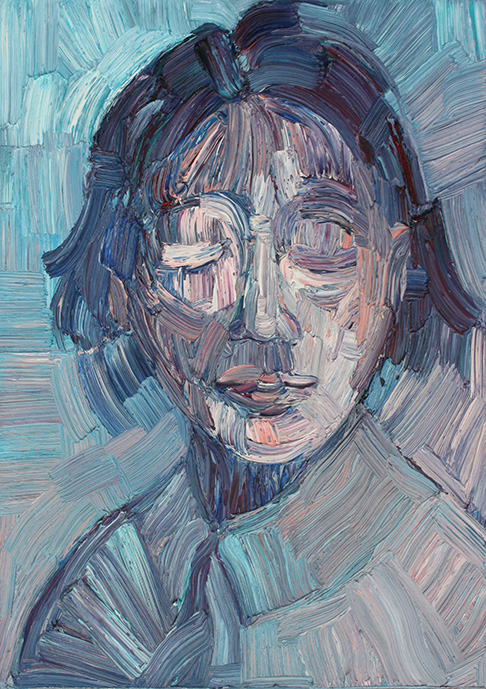 Ex-sisto, sinfonia azzurra, 2015; olio su tela, 30x40cm ciascuno