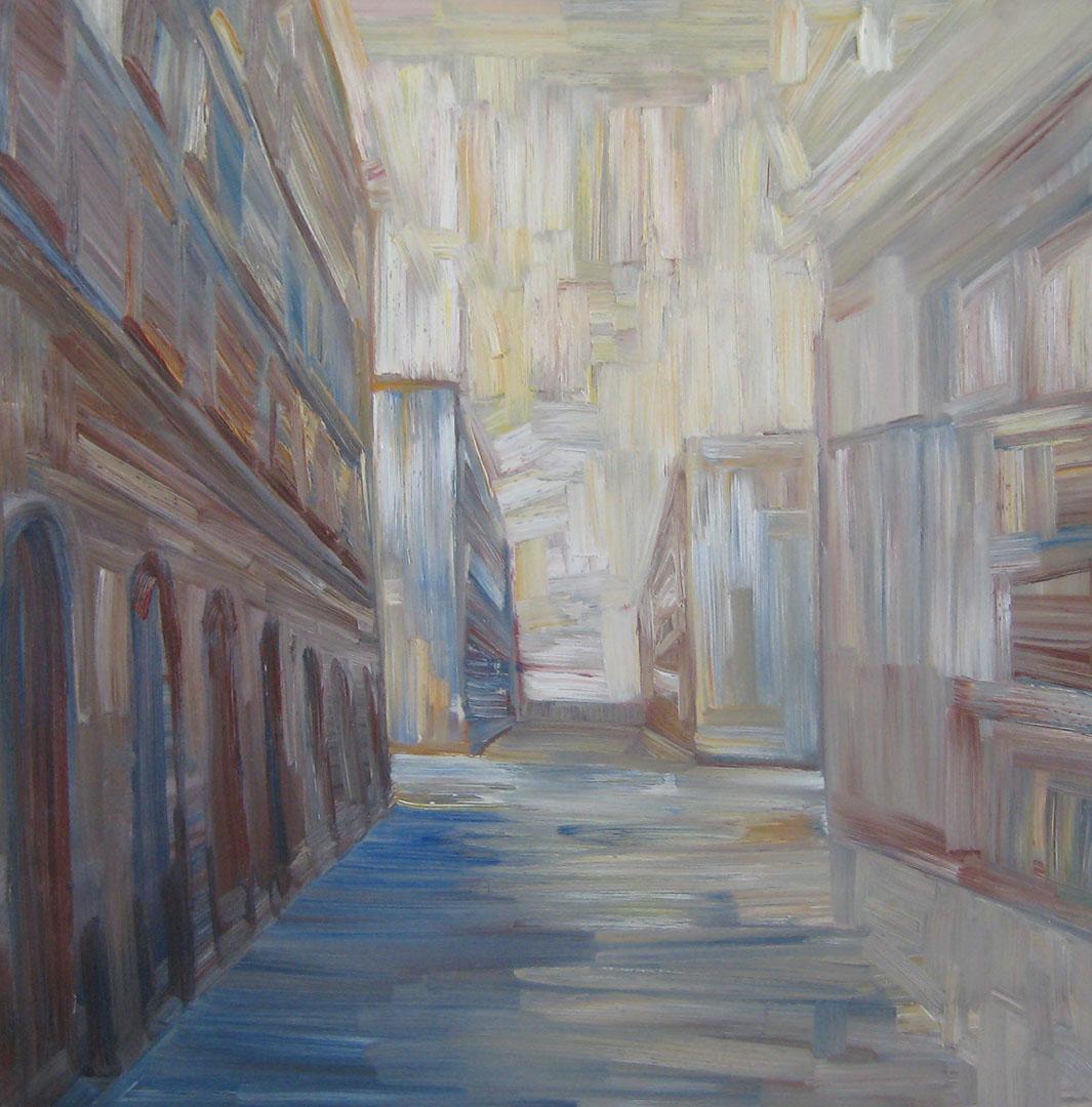 Via del Teatro, Trieste, 2010; olio su tela, 70x70 cm.
